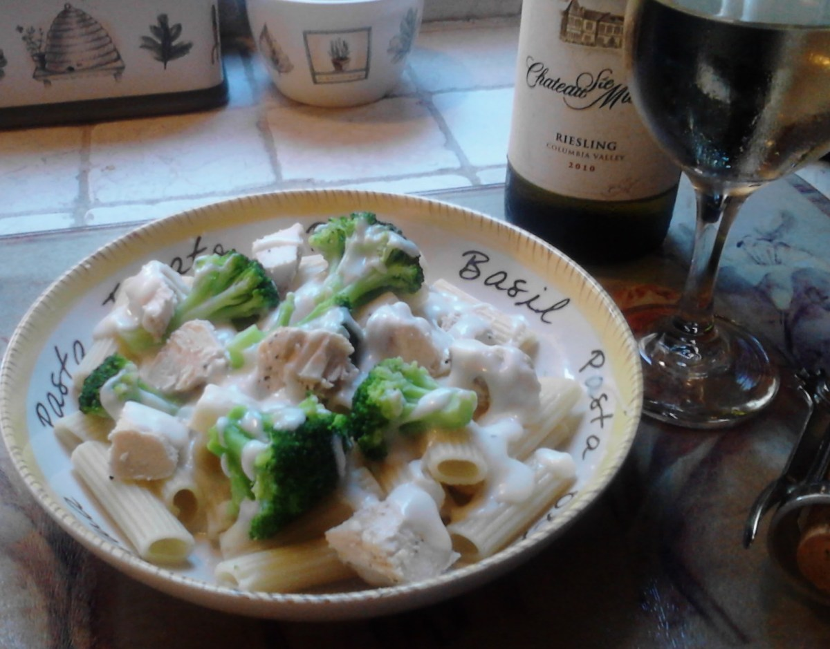 Homemade broccoli and grilled chicken with alfredo sauce