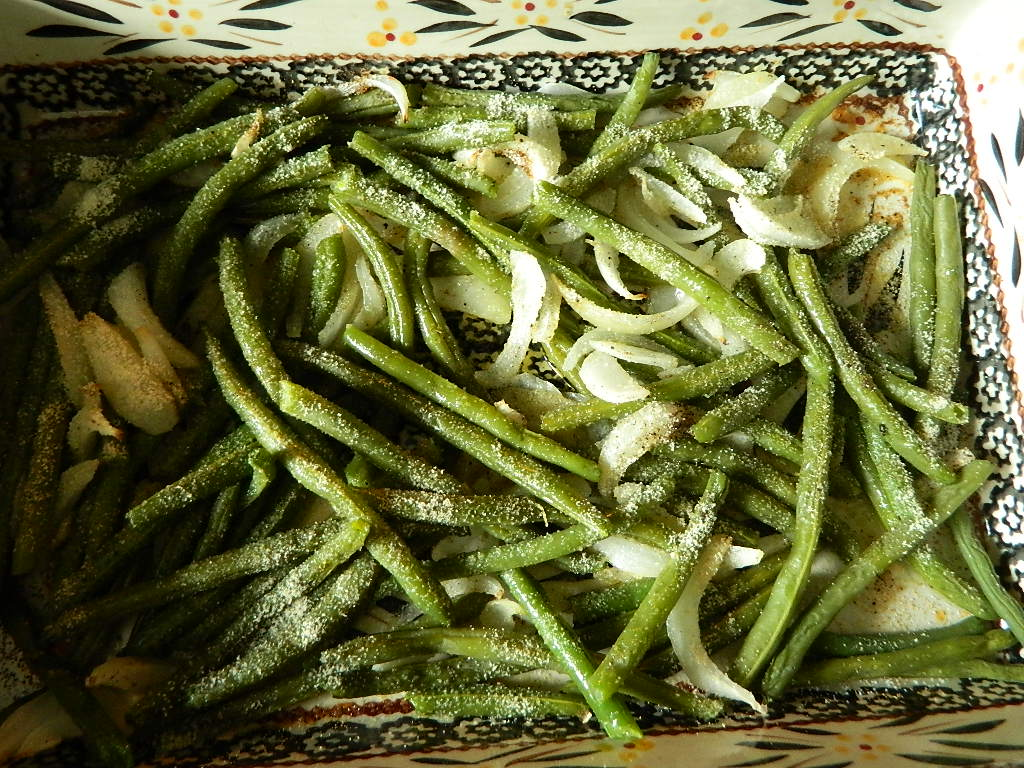 Fresh roasted green beans and Vidalia onions